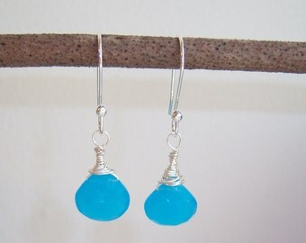Blue Chalcedony Wire Wrapped Earrings