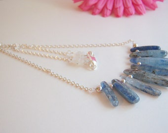 Beautiful, Rustic looking Kyanite and Sterling Beads Necklace