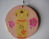 Japanese Kokeshi Dolls with Pink Cherry Blossoms - 1 1\/2 inch Wooden Pendant Kawaii