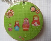 Matryoshka Russian Dolls with Flowers Hand Made Round Green Pendant with Silver Chain