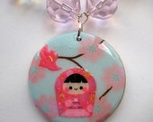 Cute Pink Japanese Kokeshi Doll with Bird Necklace - Czech Glass Pink and Clear Aurora Borealis Beads