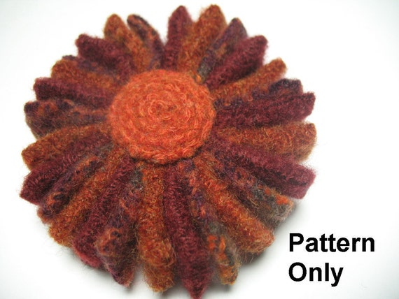 Wreath Flower Pin Pattern- instructions to create a flower pin with recycled wool felt