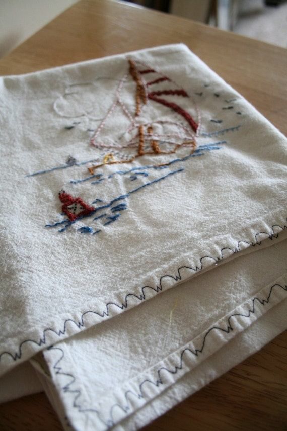 Vintage Embroidered Sail Boat Table Topper