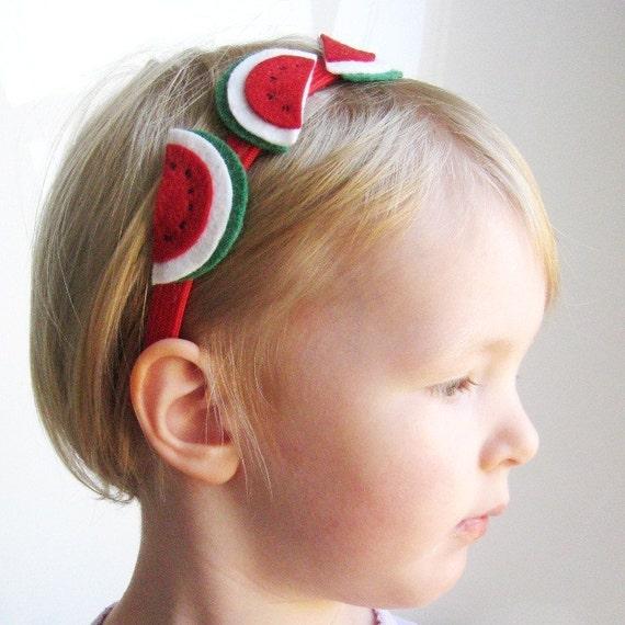 Summer Fun Wool Felt Red Watermelon Picnic Headband