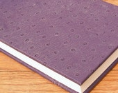 Purple Ostrich Leather Notebook Hand Bound Journal Unique Gift