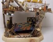 Miniature Steampunk Fairy House - Whimsical With a Mechanical Edge