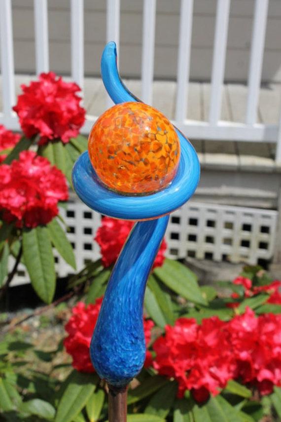 Sky Blue Glass Tail with Orange Ball Garden Art Sculpture Outdoor Decoration Garden Finial