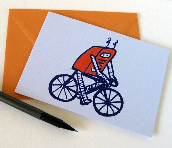 Frank the Robot on a Bicycle Screen Printed Greeting Card