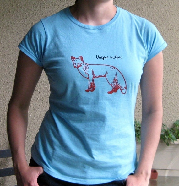 Red Fox (Vulpes Vulpes) Womens Blue T Shirt - SALE -  Was 19, Now 8