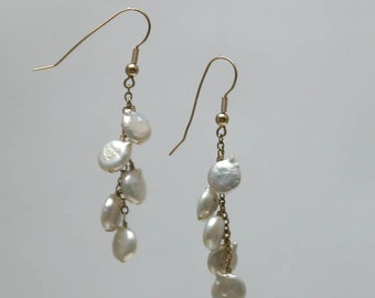 White Coin Pearl Linear Earrings