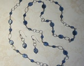 BLUE-TRAVELER Long Kyanite 40 Inch Oxidized Wire Wrapped Sterling Silver Top Quality Gemstone Chain Link Necklace And Earring Set