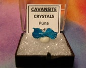 CAVANSITE BOW TIE Natural Terminated Bright Peacock Blue Crystal Mineral Specimen In Perky Box From India