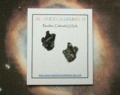 STAR TRAX Meteorite Sterling Silver Natural Genuine Outer Space Rock Sterling Silver Post Earrings Rare Metaphysical Collectible Sale