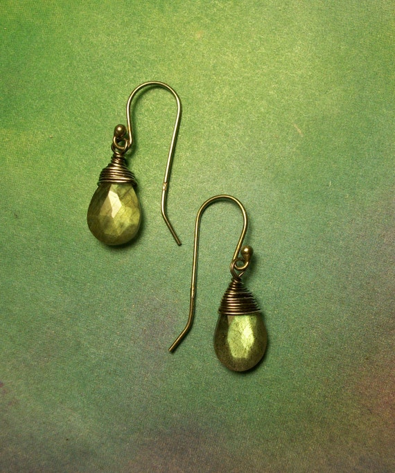 Sale ORGANIC LABRADORITE Golden Green Flash Oxidized Polished Sterling Silver Faceted Gemstone Dangle Earrings