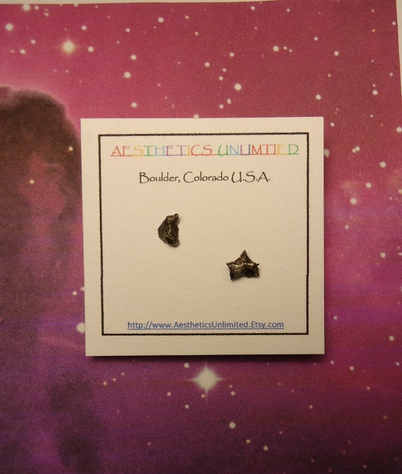 Sale To The MOON And BEYOND Meteorite Crescent Moon And Star Natural Outer Space Rock Gold Post Earrings Rare Meteorites Found 1576