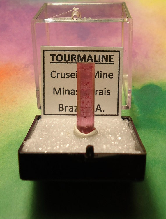 TOURMALINE Rubellite Pink Natural Terminated Crystal In Specimen Box From Brazil Rare Sale