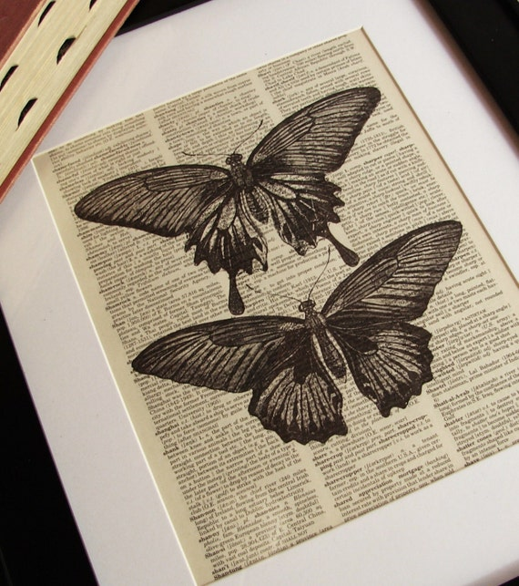 Vintage DICTIONARY Art Print - Butterfly Illustration -  8x10