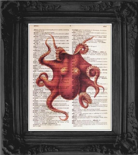 Vintage DICTIONARY Art Print - Octopus Illustration - 8x10