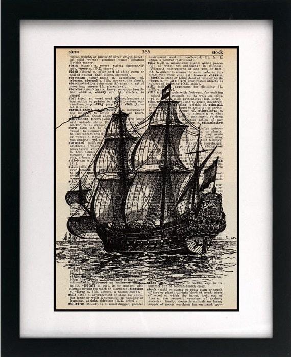 galleon ship art print - vintage art print - vintage dictionary print - vintage book page print - unique mens gift - 8x10
