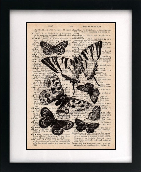 vintage dictionary art print - butterfly illustration 8x10 - FREE shipping worldwide