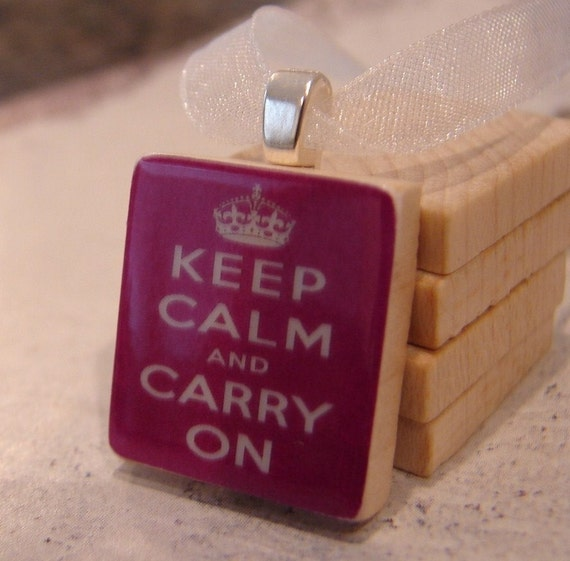 KEEP CALM AND CARRY ON -  A Scrabble Tile Pendant - See Inside for FREE Ribbon Necklace or Silver Plated Ball Chain