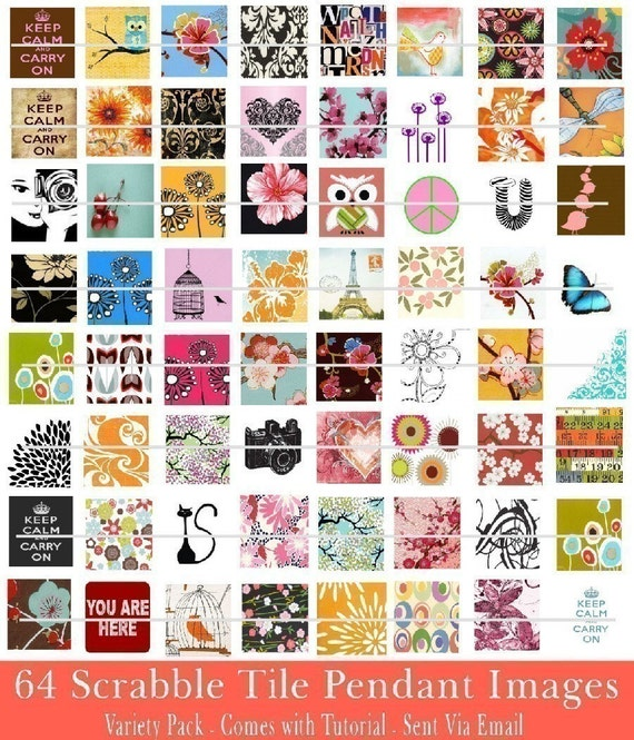 Make Your Own SCRABBLE Tile Pendants - 64 AWESOME Graphic Images PLUS A Tutorial - Sent Via Email