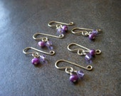 Set of 6 Purple Pearl Off The Hook Knitting and Crochet Stitch Markers
