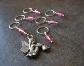 Fairy  w/ Pink Swarovski Crystal BIGGA Stitch Markers