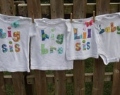 Big Brother or Sister  tee or baby announcement T-shirt only  sizes 0 - 3 - 6 - 9 - 12 -18 -24 mth -2 -3 -4- 5-6-7-8 assorted colors