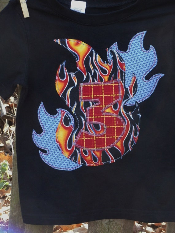 Boys Custom Fire Flame Birthday T-shirt with number year or initial   SIZES 6-12-18-24 mth 2-3-4-5-6-7-8