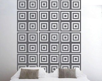 ShaNickers Squares Headboard Wall Decal