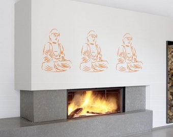 ShaNickers Wall Decal/Sticker-Buddha Trio--FREE SHIPPING