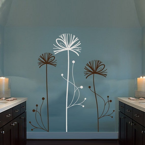 Wall Decal/Sticker-Stylized Floral Set--FREE SHIPPING