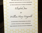 Wedding invitations Honey Bee theme - letterpress printed SAMPLE