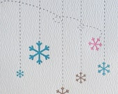 Holiday card with snowflakes, letterpress printed (set of 10)