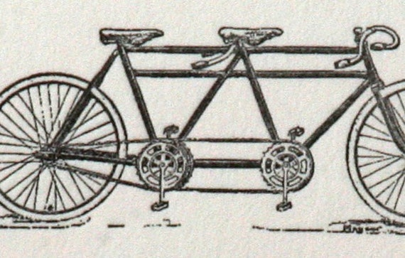 Notecards with a tandem bicycle- letterpress printed (set of 10)