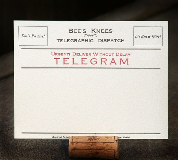 Telegram blank, letterpress printed correspondence cards (set of 10)