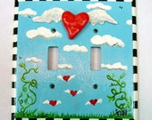 Flying Heart Double Light switch Plate - wallplate polymer clay whimsical art