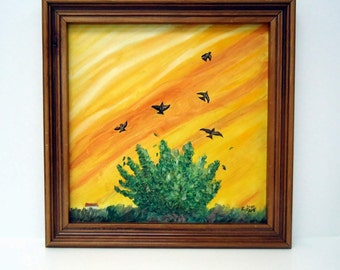 Birds in Flight - frame oil painting