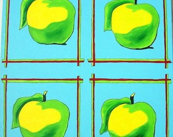 Little Green Apples Painting -pop art painting - food painting