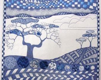 Blue Toile Zendscape Art Quilt