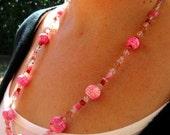 ON SALE Funky Pink Tie Dye Necklace