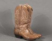 SALE Mens Camel Leather and Snakeskin Cowboy Boots 9