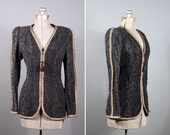 SALE Jeanne Marc quilted fitted jacket with silk piping