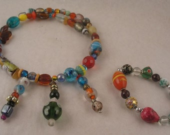 SALE SALE Colorful glass Choker Necklace and Bracelet Cloisonne and handmades