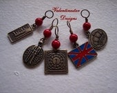 SALE UK charms and Red bead stitch marker set of 5 for US 9