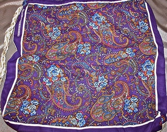 Purple Paisley / Canvas Bandanna Tote