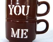 Vintage You and Me Brown Mugs Coffee Cups Made in Japan