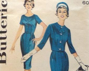 "1950s Sewing Pattern / Butterick 9828 / 50s Sheath Dress / 50s Wiggle Dress & Jacket / Bust 34"""