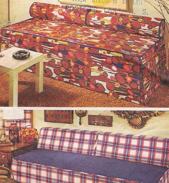 Vintage 70s Sewing Pattern Couch Sofa Cover Home Decor